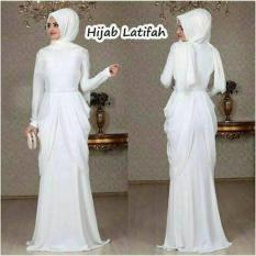 FASHION LEBARAN / Hijab Latifah White Gamis Terbaru Warna Putih Busana Muslim Wanita