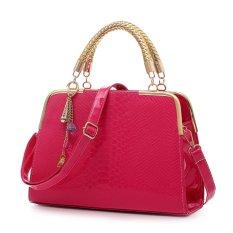 Fashion Luxury Women Ladies PU Leather Office Messenger Handbag Weekend Leisure Crocodile Stripe Shoulder Bag (Rose Red)