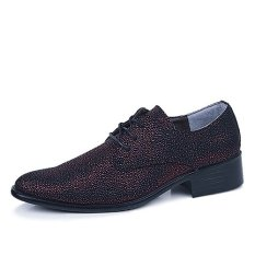 Fashion Men Point Toe Genuine Leather Shoes Youth Trend Nightclub Shoes Casual Particle Patent Leather Shoes (Red Wine) (EXPORT) - Intl
