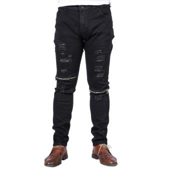 Fashion Men Straight Zipper Slim Jeans Trousers (Black)