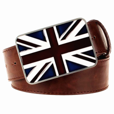 Fashion Men's Belt Leather British National Flag Belt Metal UK Flags Belt Union Jack Gift For Men Women' Leather Belts - Intl