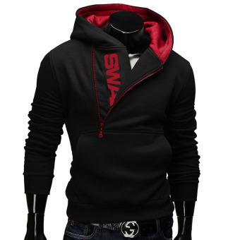 Fashion Men's Casual Hoodies Sports Male Jogging Sweatshirt Running Zipper Coat Black - intl