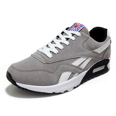 Fashion Men's Lace-up Sneakers Sports Running Shoes Grey (Intl)