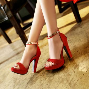 Fashion New Hot Summer Sandals Women Shoes High-Heeled Ankle Strap Nubuck leather Party Shoes?red? - intl