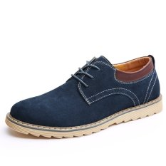 Fashion New Men's Casual Lace-up Wear-resisting Leather Shoes (Blue) - Intl