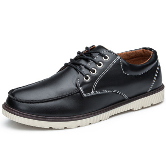 Fashion New Men's Leisure Retro Matte Leather Shoes (Black)