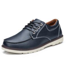 Fashion New Men's Leisure Retro Matte Leather Shoes (Blue)