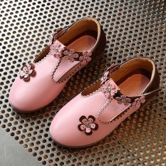 Fashion School Girls Kids Flowers Casual Ringstones Rubber Sole PU Leather Shoes I116 Pink - intl