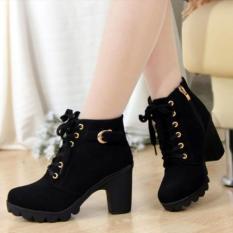 Fashion Sepatu Boot Wanita Heel Tan