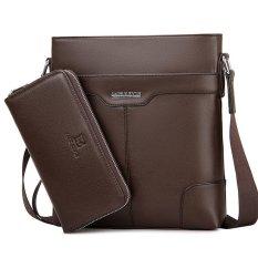 Fashion Shoulder Bag Messenger Men's Business Casual Fashion Vertical Crossbody Bag Tote Bag (Brown Big Size)