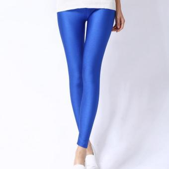 Fashion The New Pantyhose Summer Thin Section Nine Points Leggings, Shiny Color Pants (Blue)