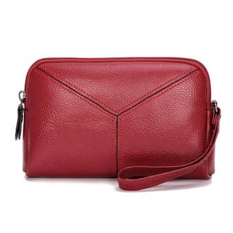 Fashion Wanita Pu Kulit Ponsel Mini Multifungsi Tas Kartu Koin Clutch Bag ( Merah)