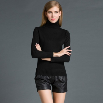 Fashion Musim Dingin Wanita Sweater Knitwear Turtle Neck Lengan Panjang Ribbed Rajutan Pullover Tops Hitam