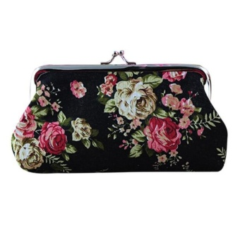 Fashion Woman Long Wallet Big Rose Canvas Purse Party Handbag Coin Keep Bag -Black - intl