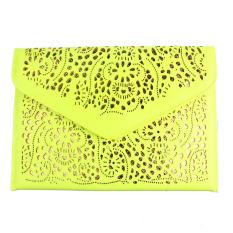 Fashion Women Envelope Clutch Shoulder Messenger Bag Purse Handbag (Yellow)