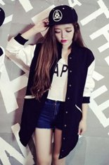 Fashion Women Girls Sports Baseball Style Front Button Splice Color Cardigan Coat-black- (EXPORT)