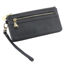 Fashion Women Leather Clutch Wallet Long PU Card Holder Lady Purse Lady Handbag Black