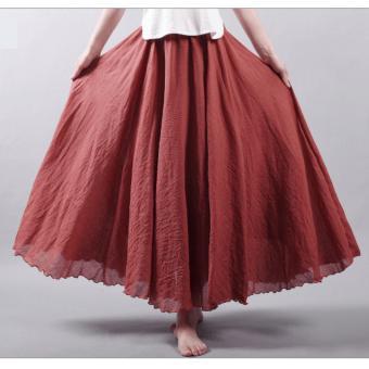 4959dab14 Fashion Women Linen Cotton Long dresses Summer Autumn 2017 Women Pleated  Maxi Skirts Retro Ladies Slim