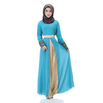Fashion Women Long Sleeve Arab Robe Loose Islamic Muslim Dress(Blue)