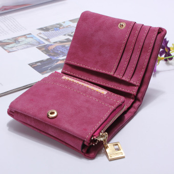 Fashion Women Purse Leather Lady Handbag Wallet Button Clutch Card Case Coin Bag Rose Red - intl