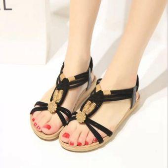 Fashion Women Shoes Sandals Comfort Sandals Summer Flip Flops 2016 New Flat Bohemian Style Sandals Gladiator Sandalias Mujer Black
