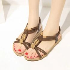 Fashion Women Shoes Sandals Comfort Sandals Summer Flip Flops 2016 New Flat Bohemian Style Sandals Gladiator Sandalias Mujer Brown - Intl