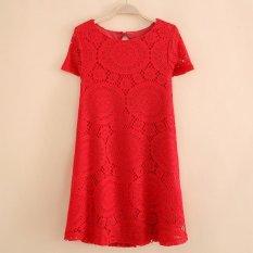 fashion Women Summer short Sleeve loose Hollow out beach Casual mini Dress - intl