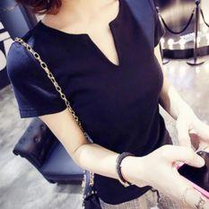 Fashion Women Tops Tees 2016 Summer Style Women Casual Women Cotton T-shirt V-neck Femininas Short Sleeve T-shirt Solid Color Women Clothes Black