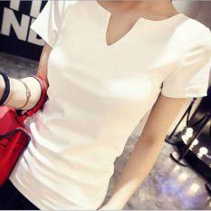 Fashion Women Tops Tees 2016 Summer Style Women Casual Women Cotton T-shirt V-neck Femininas Short Sleeve T-shirt Solid Color Women Clothes White - Intl