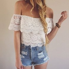 Fashion Women's Blouses Sexy Summer Lace Crochet Tops Off Shoulder White Shirt Casual Blouse B7 SV000843-white-S (EXPORT)
