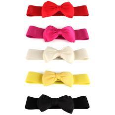 Fashion Women's Bowknot Elastic Bow Wide Stretch Buckle Waistband Waist Belt White