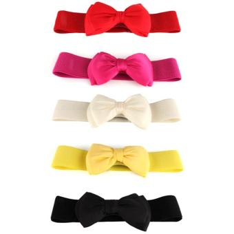 Fashion Women's Bowknot Elastic Bow Wide Stretch Buckle Waistband Waist Belt White