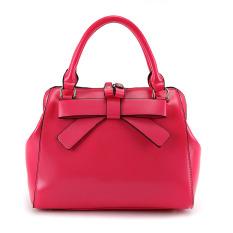 Fashion Women's Girls Sweet Bowknot Decor Soft PU Double Zipper Handbag Tote Bag Shoulder Bag Cross-body Messenger Bag Red
