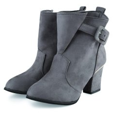 Fashionable Pure Color Buckle Design Pointed Toe Ladies Thick Heel Ankle Boots (Gray) - Intl