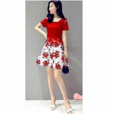 fashionshop dress Flower Maroon
