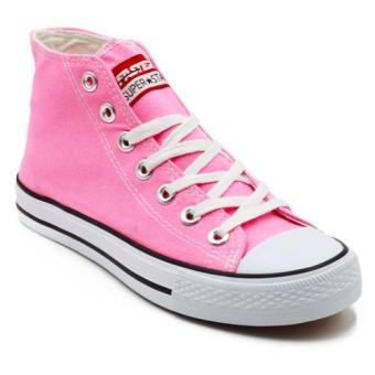 Faster Sepatu Sneakers Kanvas Wanita 1603-04 - Merah Muda/Putih