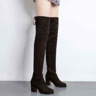 Faux Suede Slim Boots Sexy elasticity Over The Knee High Women Boots Women's Fashion Winter Thigh High Boots Shoes(Black)