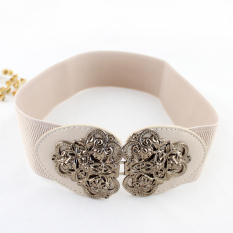 Feelontop New Arrival Trendy Women's Fashion Colorful Pu Leather Antique Gold Alloy Flower Charm Elastic Belts (Intl)