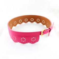 Feelontop New Coming Sweet Colorful Pu Leather Hollow Out Flowers Belts Women Cummerbunds (Intl)