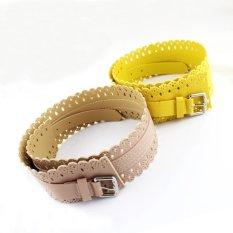 Feelontop New Design Sweet Colorful Pu Leather Hollow Out Flowers Cummerbunds Belts Women Accessories (Intl)