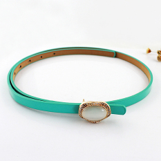Feelontop New Fashion Designer Candy Color Pu Leather Gemstone Decoration Adjustable Belts (Intl)