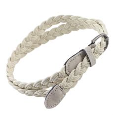 Feelontop New Fashion Women' S Braided Rope Beige Black Color Distinctive Long Belts (Intl)