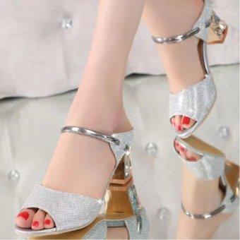Femine - Sepatu Sandal High Heel Wanita Glitter Hak Kotak - Silver