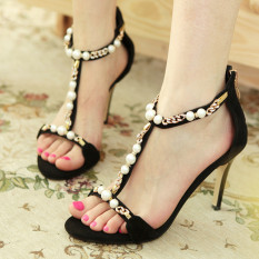 Fish mouth sexy high-heeled sandals comfortable with Hollow Pearl princess shoes 8cm high - intl