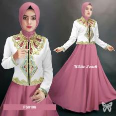 Flavia Store Maxi Dress Lengan Panjang FS0106 - PEACH PUTIH / Gamis / Gaun Pesta Muslimah