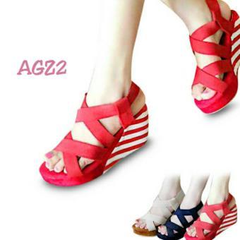 Flower Sepatu Wedges Zebra Wanita - Putih Merah