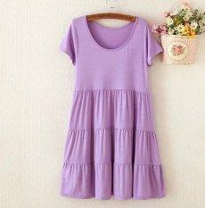 Formal busana hamil lengan pendek gaun kue lebih besar ukuran wanita hamil membuat bergaris pakaian atasnya rok ukuran bebas ungu - International