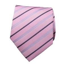 Formal Business Wedding Classic Men Tie Stripe Grid Silk Neckwear Fashion Accessories Men Necktie Pink Twill- Intl