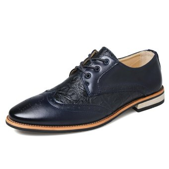 Formal Crocodile Leather Men Casual Business Shoes (Dark Blue)