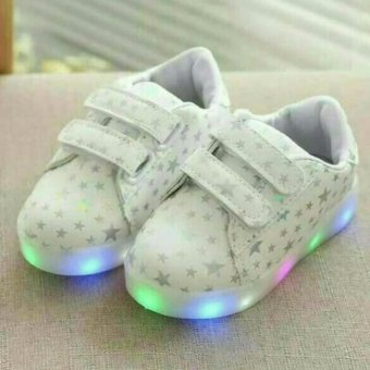 Freeshop Fashion Kids Unisex Star Polkadot Pattern LED Sneakers Light Up Flashing Shoes - White